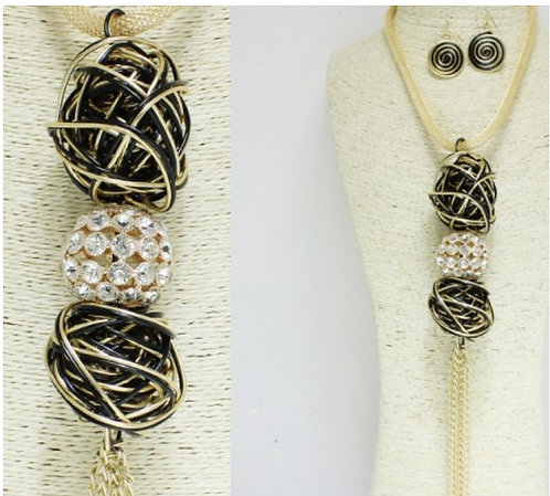 GOLD, COIL BALL TASSEL LONG NECKLACE