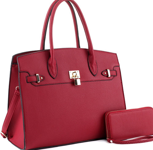 Padlock Accent Structured Large Tote Wallet SET