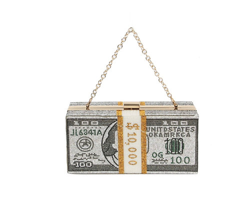 Fashion Framed Rhinestone  $10,000 Clutch Messenger Bag