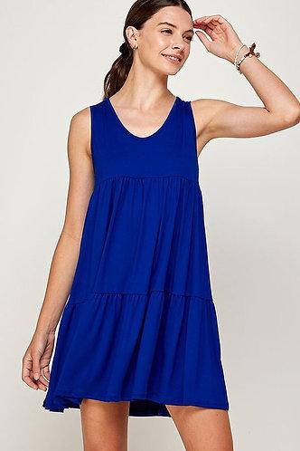 Sleeveless Ruffled Babydoll Solid Dress