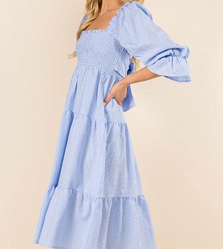 Plaid Tiered Midi Dress