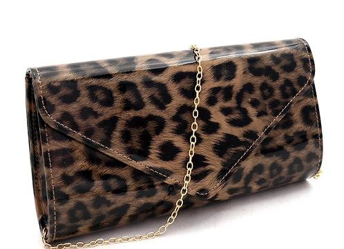 Faux Leopard Print Patent Flap Clutch Shoulder Bag