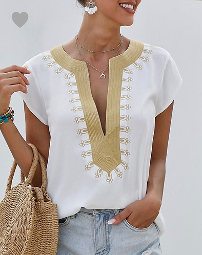 DEEP V NECK EMBROIDERY DETAIL CASUAL SHIRT
