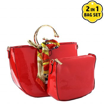 Faux Patent Leather Handbag with Scarf