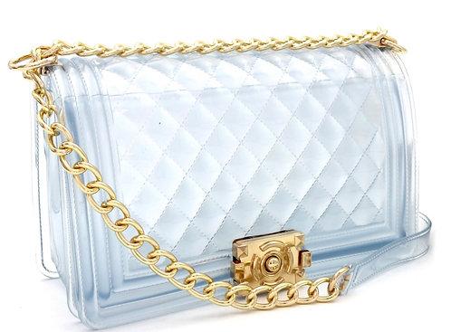 Translucent Embossed Jelly 2-Way Pinch-Lock Medium Shoulder Bag See-Through