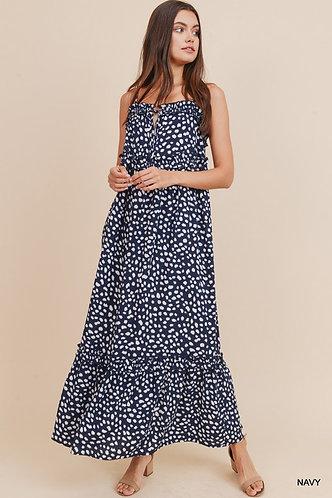 Ruffle Polka Dot Sleeveless Maxi Dress