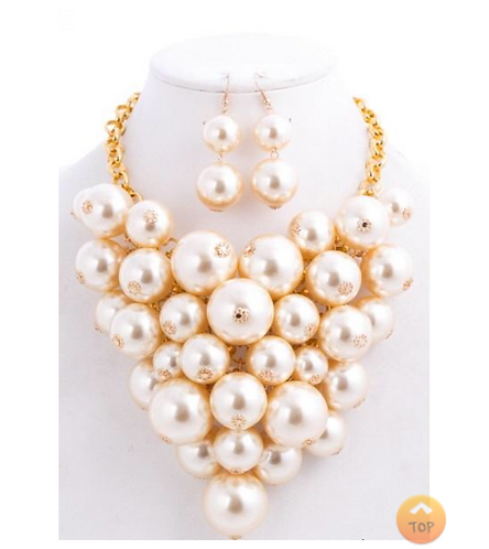 Chunky Cream-Pearl Statement Necklace Set