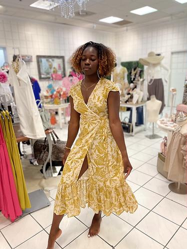 Tropical Palm Print Dress