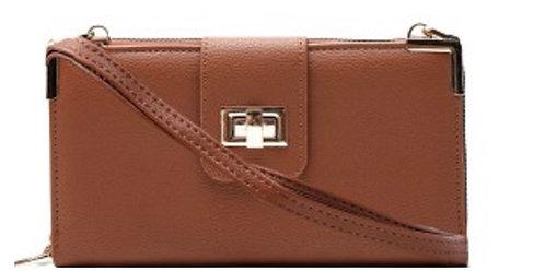 Turn-Lock Accent Smartphone-Friendly Long Bi-fold Crossbody Wallet Brown