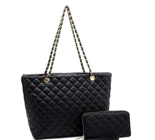 Quilted Chain Shopper Tote Wallet SET