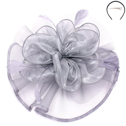 Fascinator with Satin Flower Feather