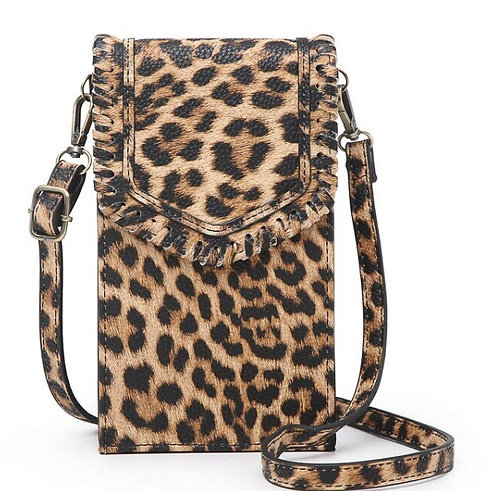 Whipstich Touch Screen Crossbody w/ Whipstitch Flapover