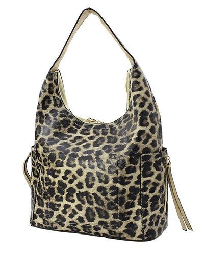 Fashion Faux Leopard Hobo Handbag