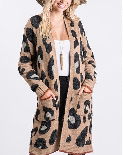 Soft Leopard Print Cardigan