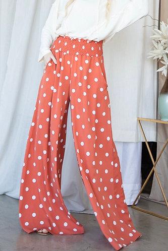 Polka Dot Smocked Waist Maxi Pants