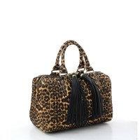 Fashion Faux Leopard Handbag with Tassel
