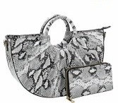 Fashion Faux Snakeskin Handbag with Wallet