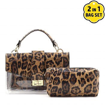 Faux Leather Leopard Clear 2 in 1 Messenger Bag