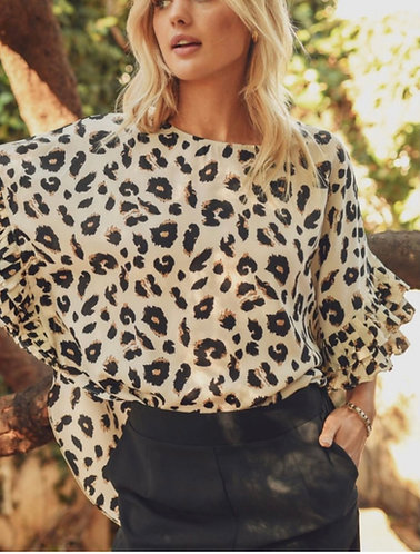 Leopard print top with dolman half sleeves