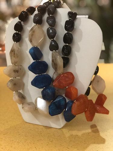 Multi color stone necklaces