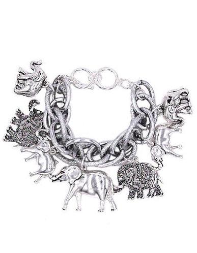 Chunky Silver Charm Double Linked Bracelet