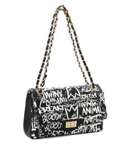 Fashion Faux Leather Graffiti Messenger Bag