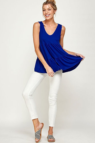 Plus Size Tiered Layers Sleeveless Solid Top