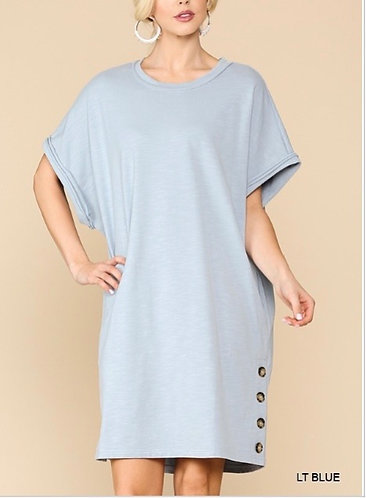 FRENCH TERRY SLUB OVERSIZE DRESS