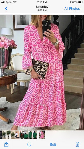Pink Leopard Midi Dress