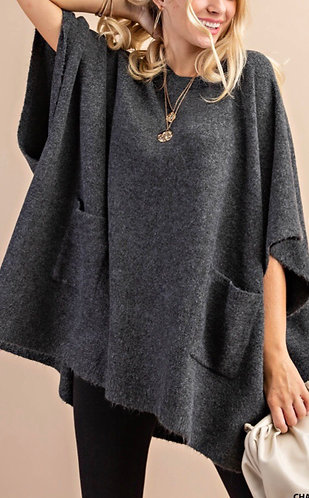 PONCHO SWEATER WITH POCKETS