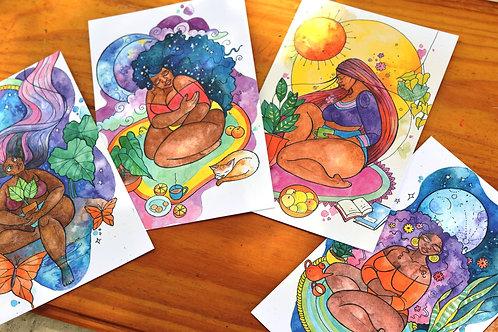 Set of Four Postcard Prints