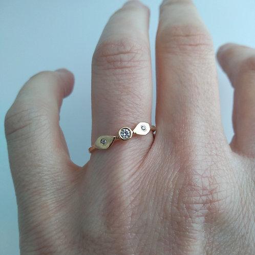 14K Diamond, Leaf Ring