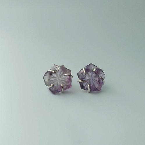 Amethyst Hibiscus Earrings