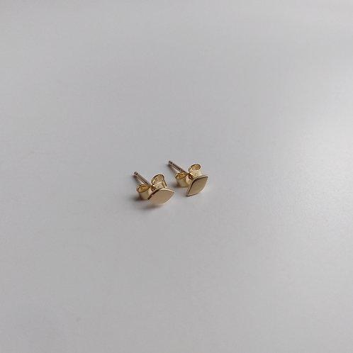 14K, Yellow Gold, Tiny Leaf Studs