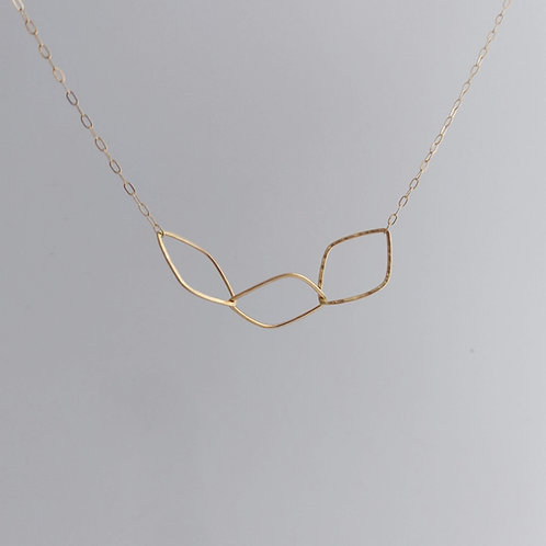 14K Yellow Gold Leaf Link Necklace