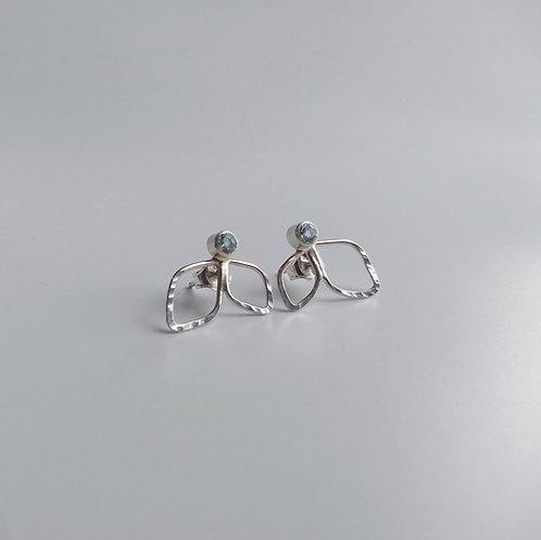 Topaz, Leaf Cluster Earrings