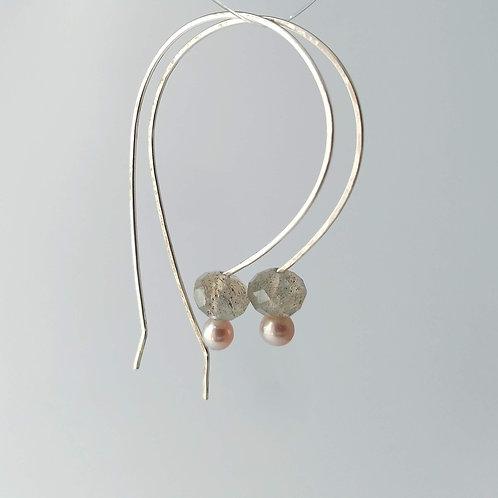 Labradorite/Pink Pearl Drops