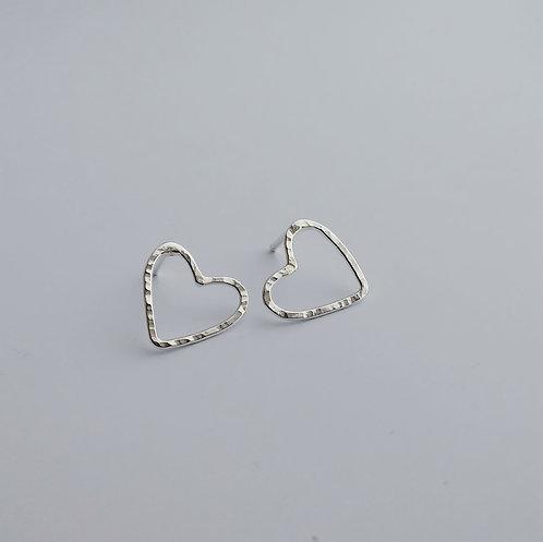 Sterling Silver, Heart Outline Earrings