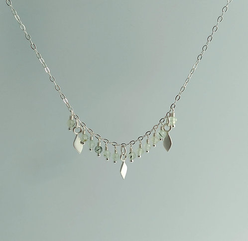 Leaf and Prehnite Drop Necklace