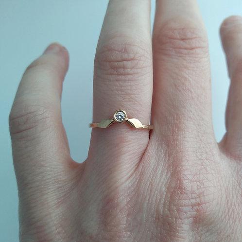 14K Angled, Leaf Ring