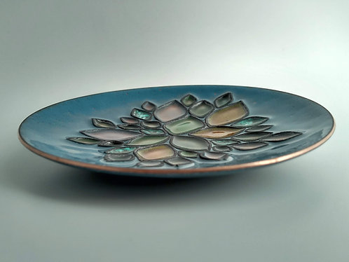 Enameled Dish with Leaf Accents