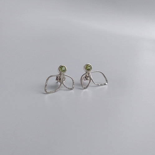 Peridot, Leaf Cluster Earrings