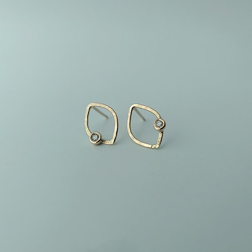 Leaf Outline Earrings with Diamonds