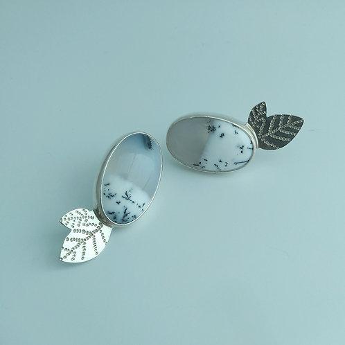 Dendritic Opal, Leaf Earrings
