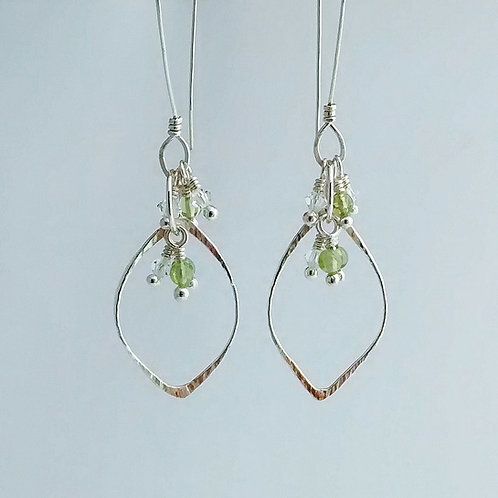 Forged Leaf Drop Earrings w Gemstone Cluster
