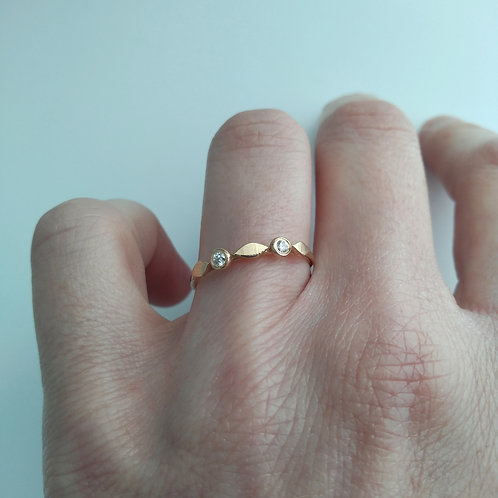 14K Stacking, Leaf Ring