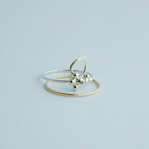 Leaf Ring Stacking Set w Green Diamond