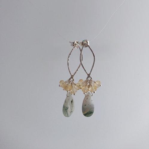 Moss Agate/Citrine Drop Earrings