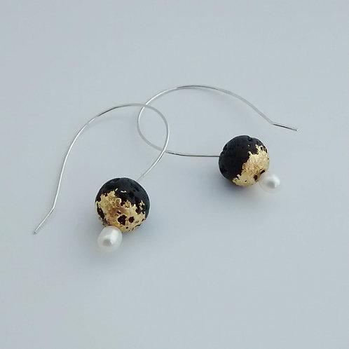 Lava Stone Drop Earrings w Goldleaf