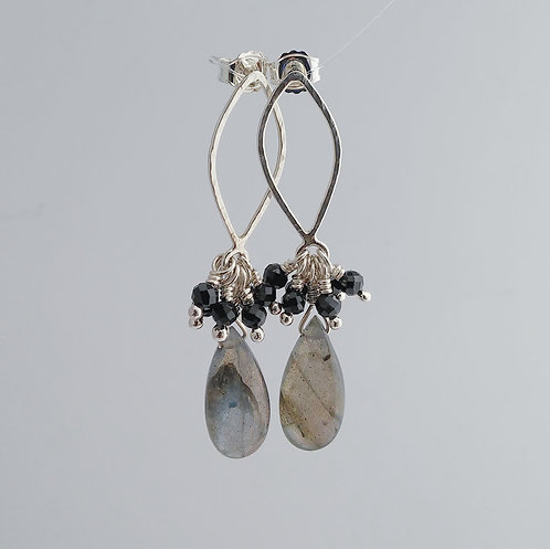 Labradorite/Black Spinel Drop Earrings